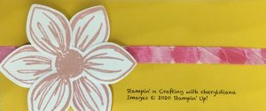 Stamped flower and hand made stamped ribbon
