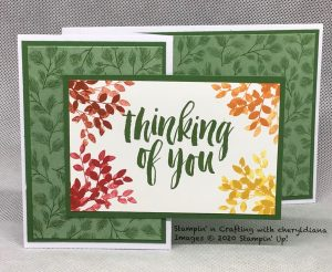 Z fold card using Poinsettia Place DSP and Rooted in Nature stamp set
