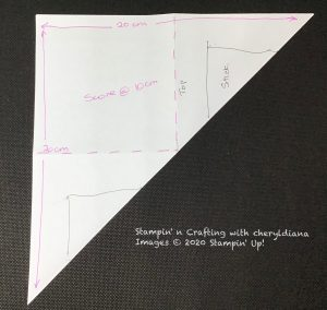 Template for diagonal fold cards
