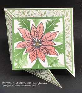 Card using Poinsettia Place DSP, Poinsettia Stamp set and Water colouring pencils