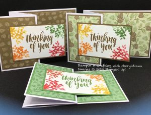 Z Fold cards using Poinsettia Place DSP and Rooted in Nature Stamp set