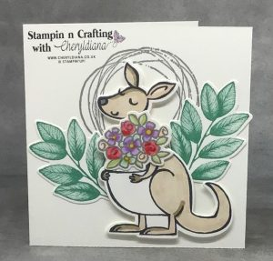 A card showing how using the bunch of flowers from the Kangaroo and Company bundle you have a card for any occasion.