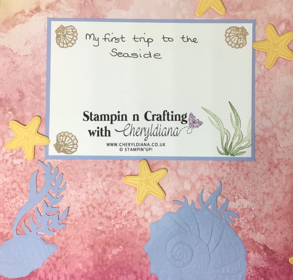 Image showing die cut and embossed shells, stamped starfish and journaling mat with stamped shells and seaweed images.
