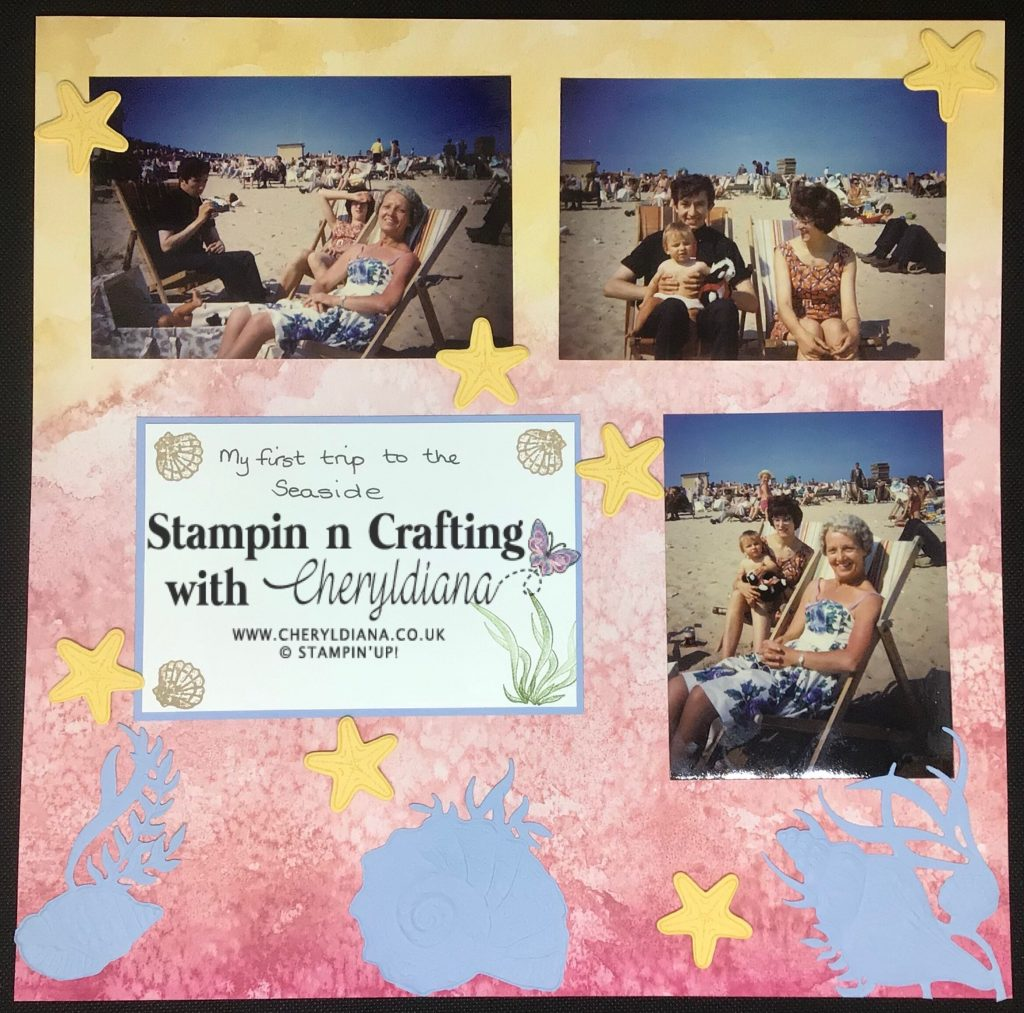 Just Me Scrap Yourself Scrapbook layout using products from the Sea and Sand Suite