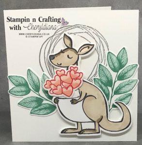 Love and Hugs card using Kangaroo and Company stamp set and dies.