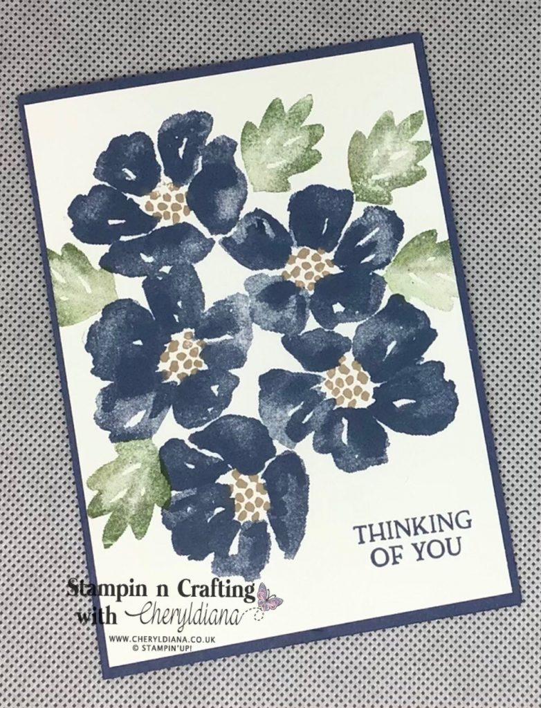Simple stamping card using Blossoms in Bloom stamp set