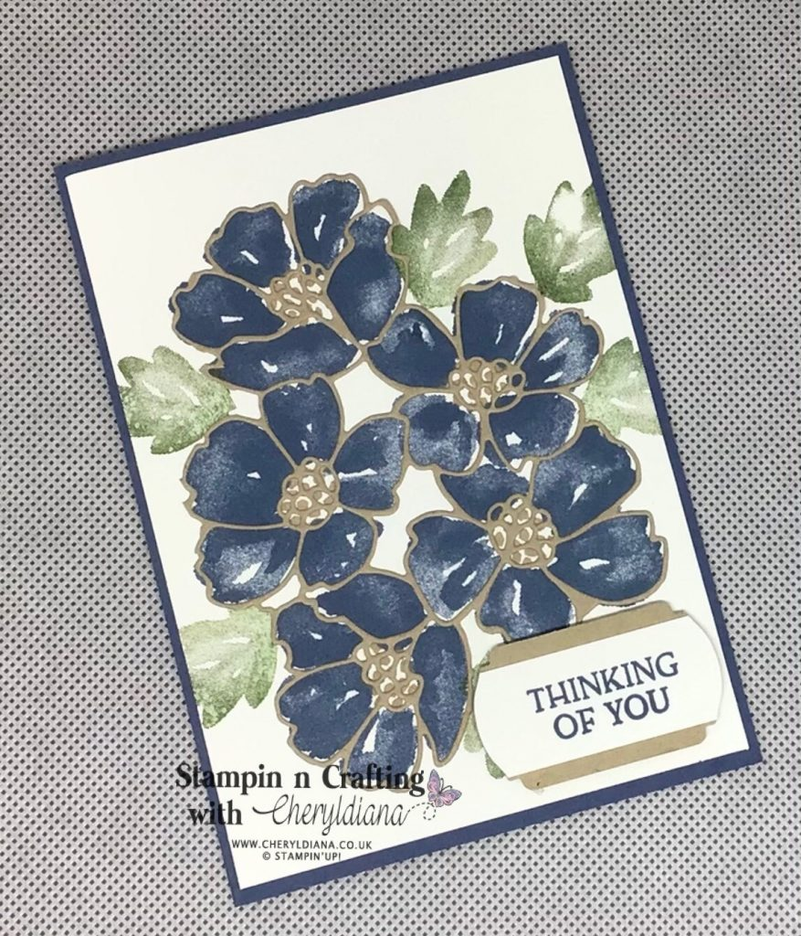 Simple stamping card using Blossoms in Bloom stamp set and matching dies