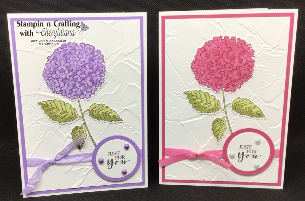 Highland Heather and Melon Mambo 'Just for You' cards using Hydrangea Haven Bundle