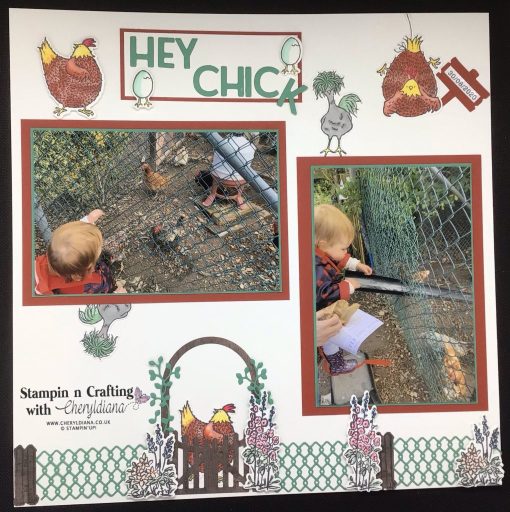 Photo of completed Feeding the Chickens scrapbook layout