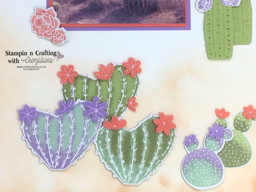 Photograph showing Flowering Cactus along bottom of scrapbook layout