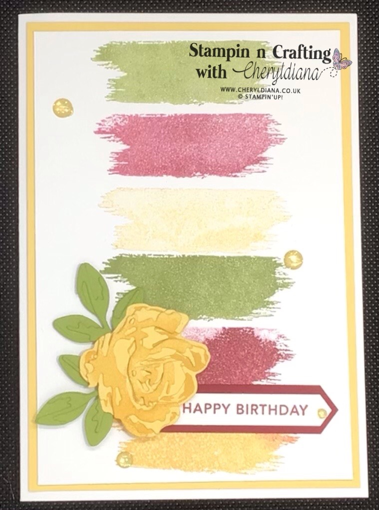 Photo of third Colour Combo birthday card using a So Saffron mat layer, Brushed Blooms stamp set and matching dies.