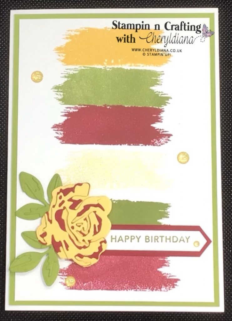 Photo of first Colour Combo birthday card using an Old Olive mat layer, Brushed Blooms stamp set and matching dies.