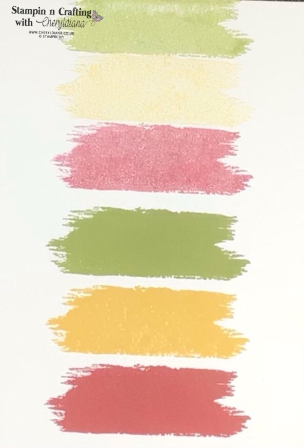 Photo showing stamped brush stroke images in the three colours.